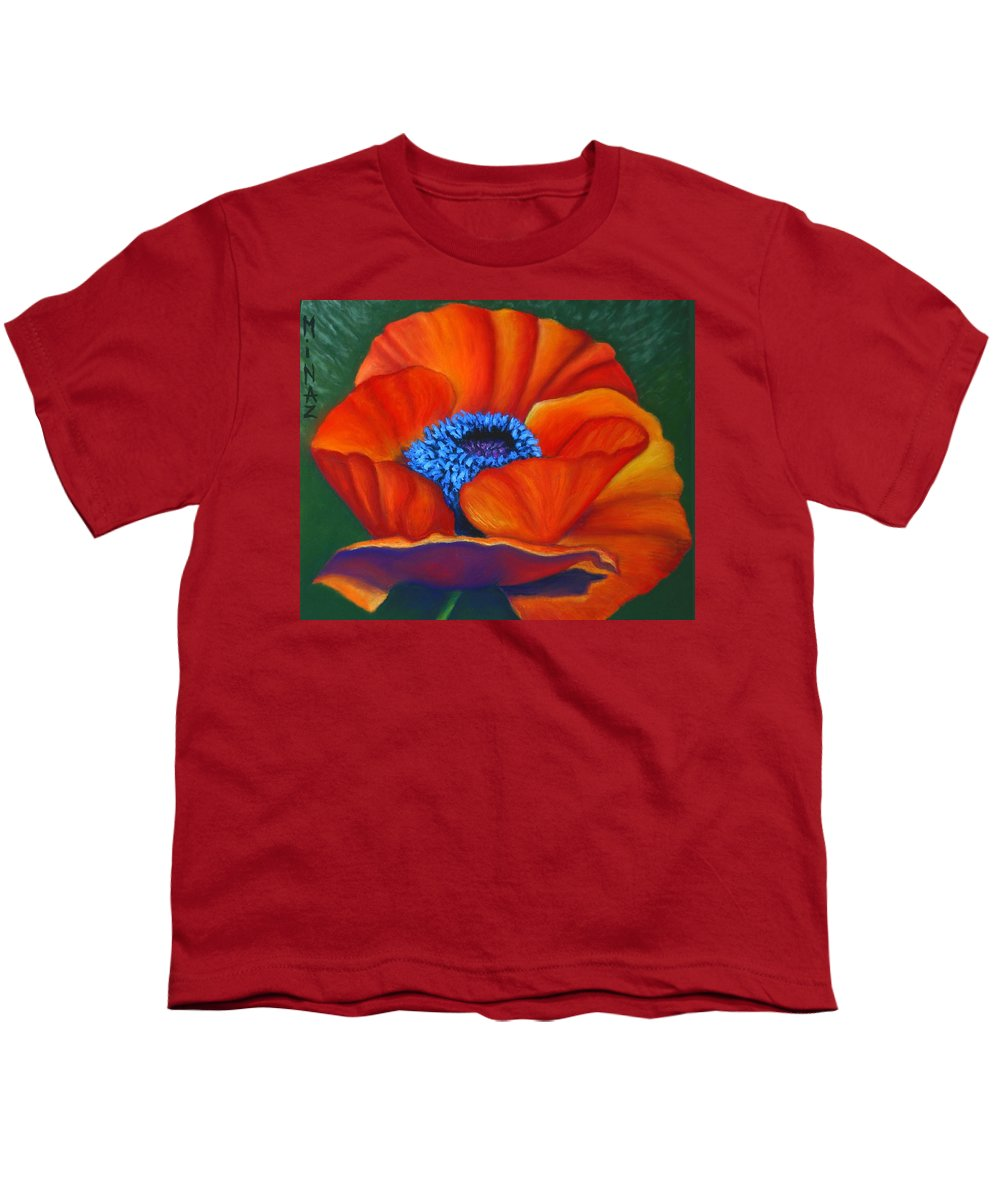 Red Flower Youth T-Shirt featuring the painting Poppy Pleasure by Minaz Jantz