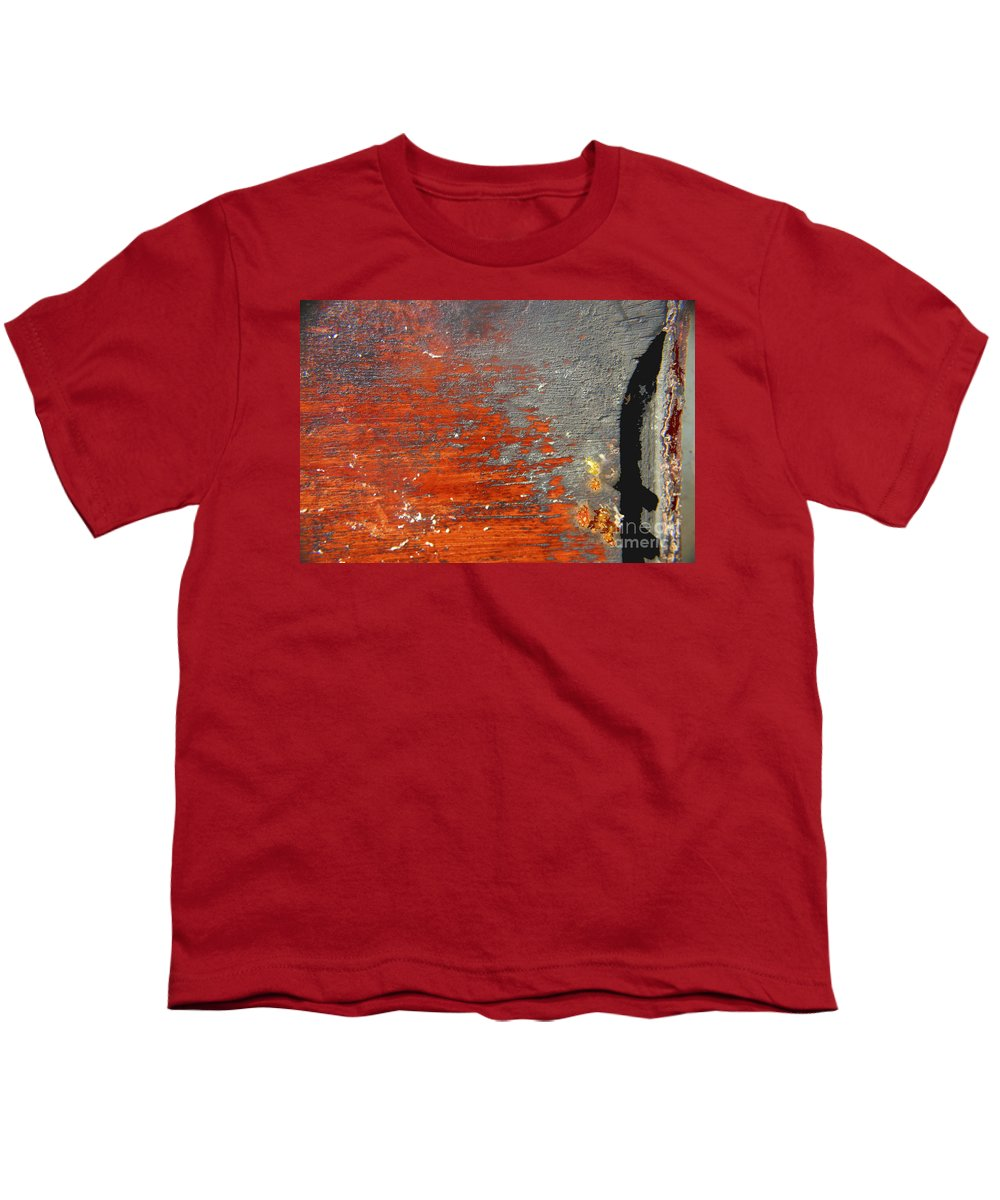 Red Youth T-Shirt featuring the photograph Red And Grey Abstract by Hana Shalom