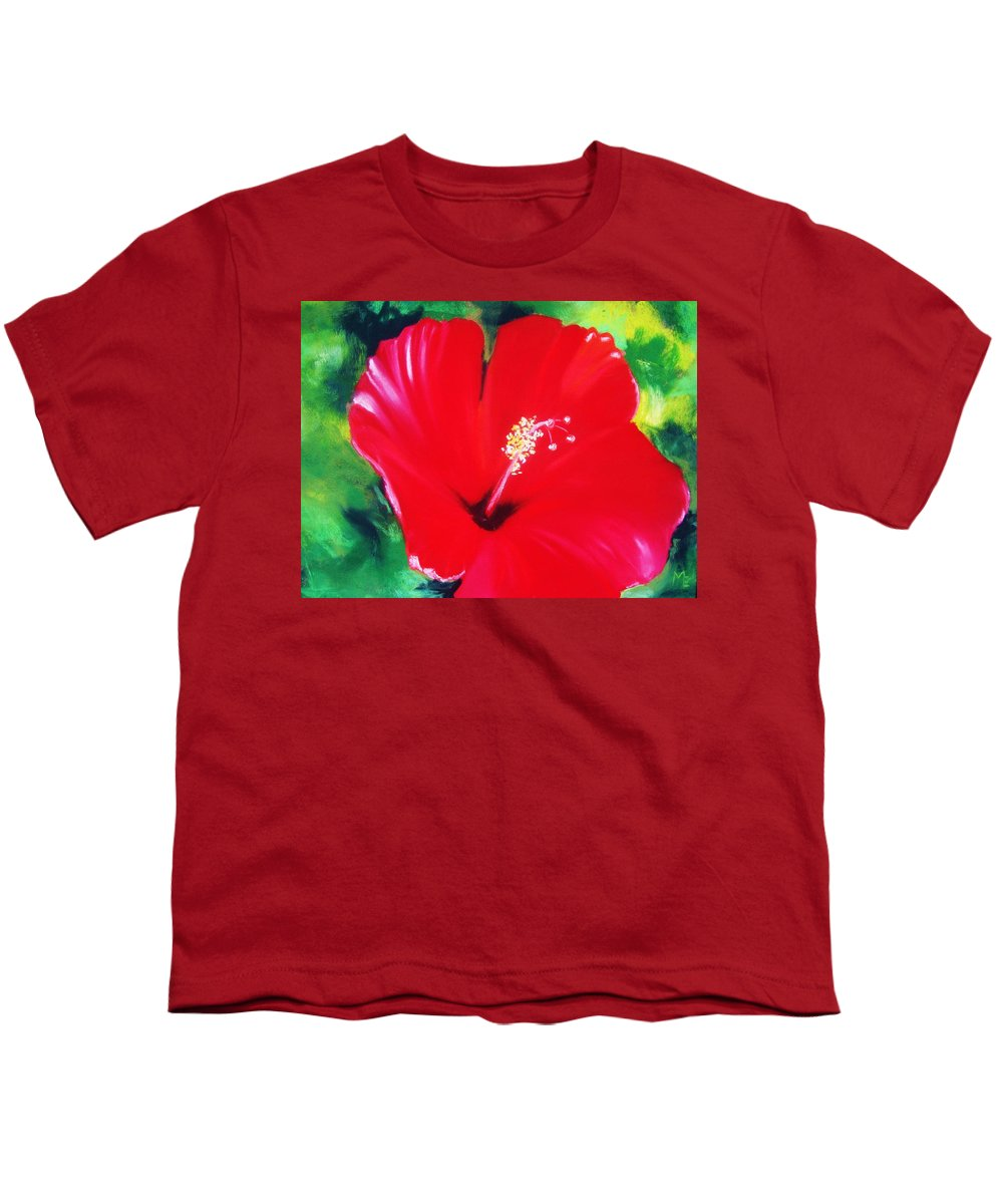 Bright Flower Youth T-Shirt featuring the painting Red Hibiscus by Melinda Etzold