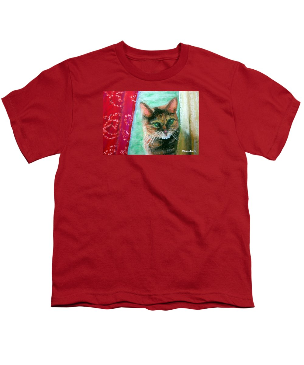 Cat Youth T-Shirt featuring the painting Rosy In Color by Minaz Jantz