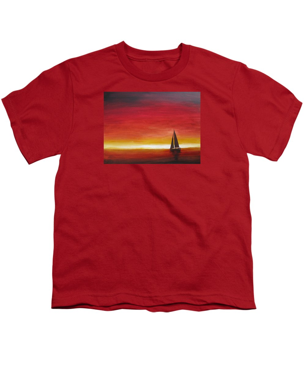 Sunset Youth T-Shirt featuring the painting Sailors Delight by Karen Stark