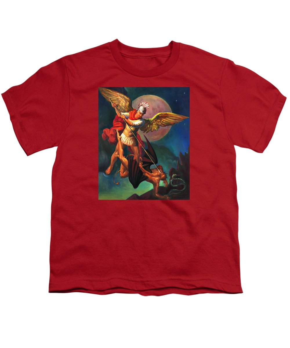 Bible Youth T-Shirt featuring the painting Saint Michael The Warrior Archangel by Svitozar Nenyuk