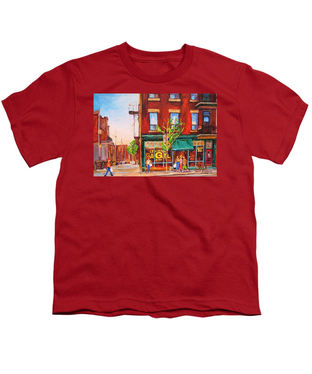 Montreal Youth T-Shirt featuring the painting Saint Viateur Bagel by Carole Spandau