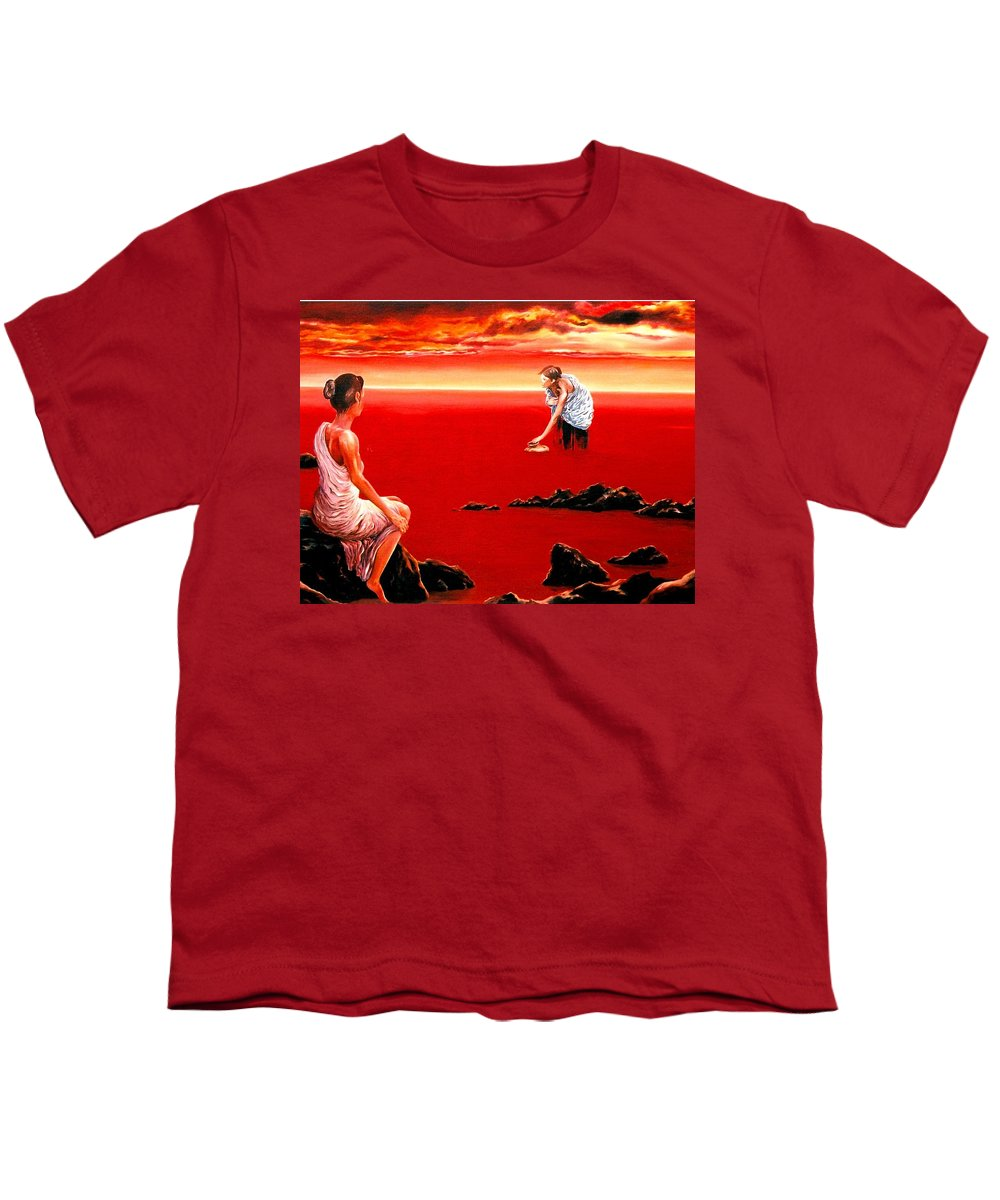 Red Youth T-Shirt featuring the painting Scarlet Evening In December by Mark Cawood