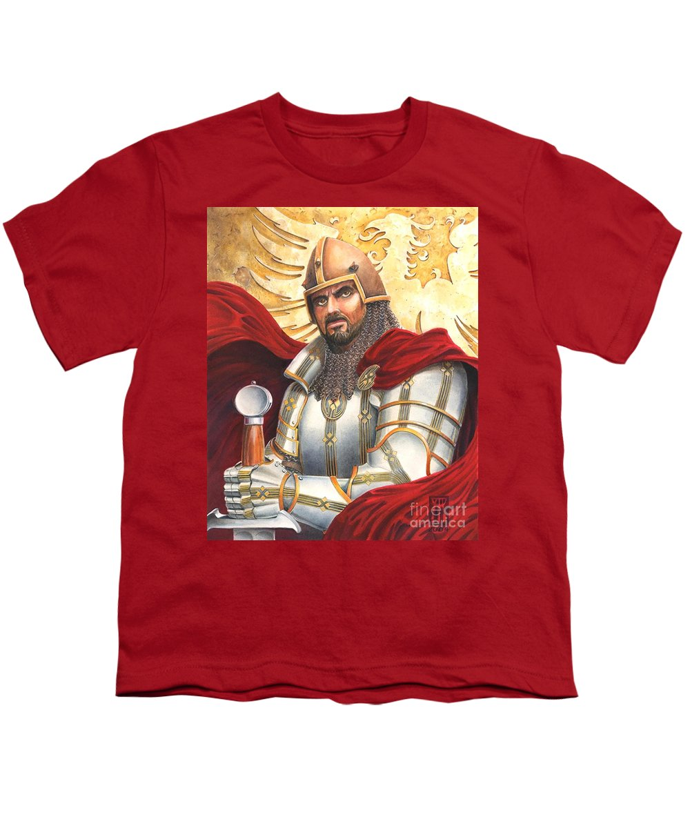 Swords Youth T-Shirt featuring the drawing Sir Gawain by Melissa A Benson