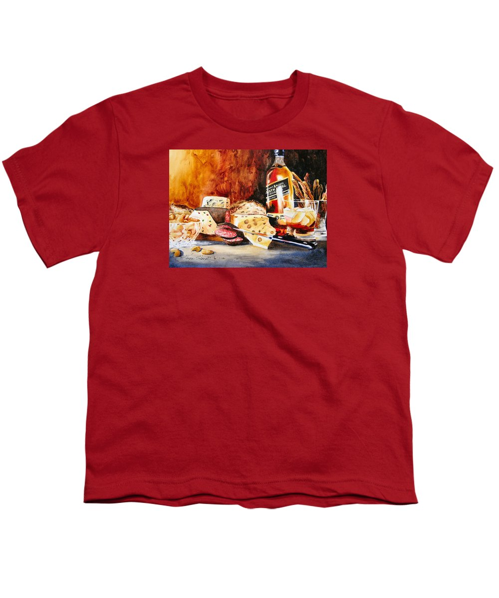 Scotch Youth T-Shirt featuring the painting Spirited Indulgences by Karen Stark