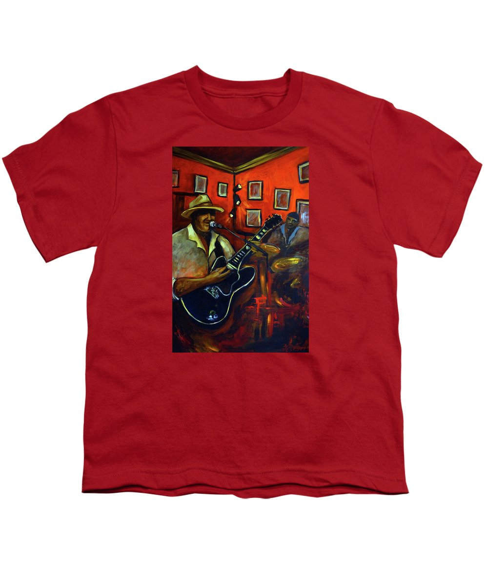 Blues Youth T-Shirt featuring the painting The Back Room by Valerie Vescovi