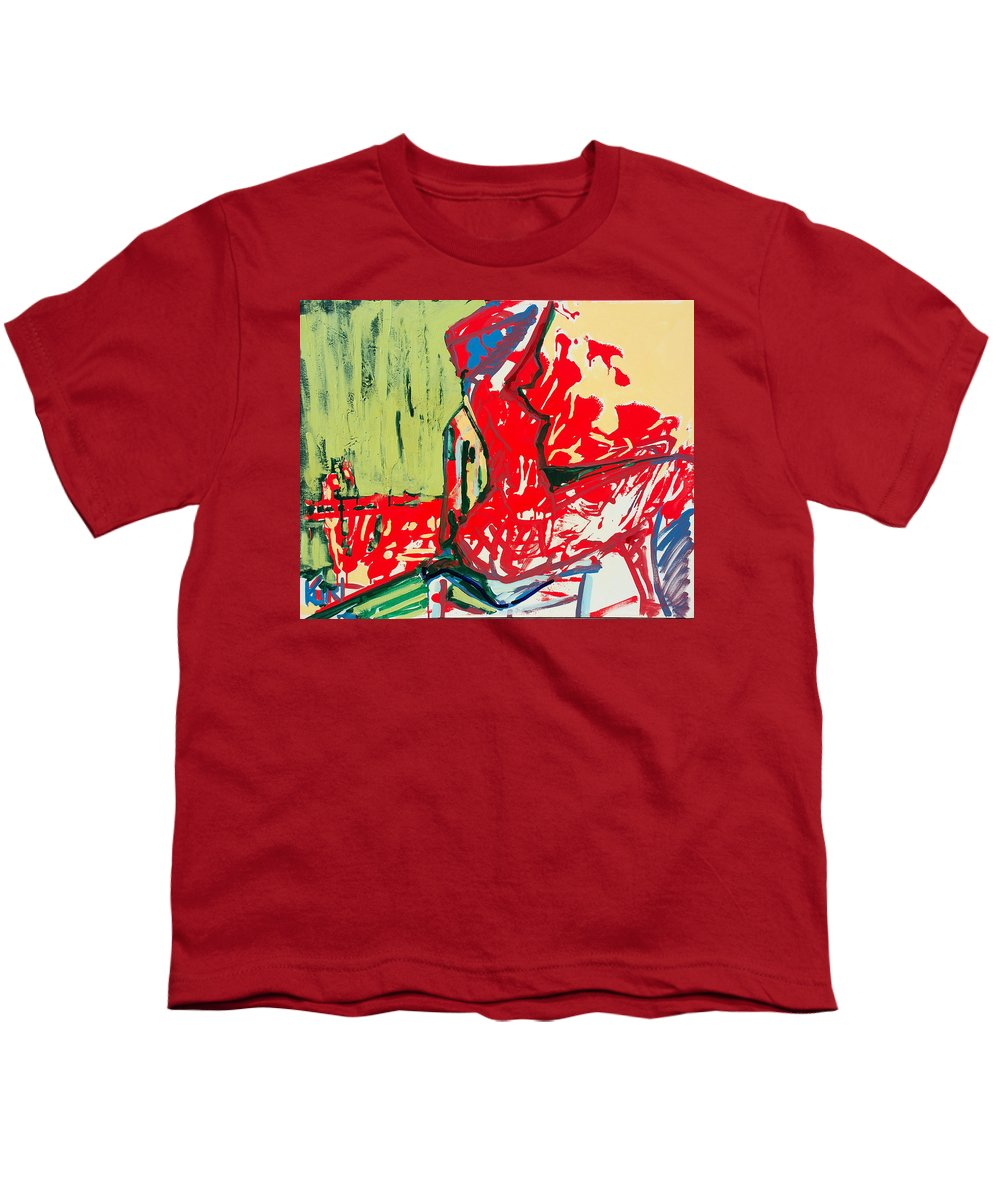 Woman Youth T-Shirt featuring the painting The Blue Chair by Kurt Hausmann