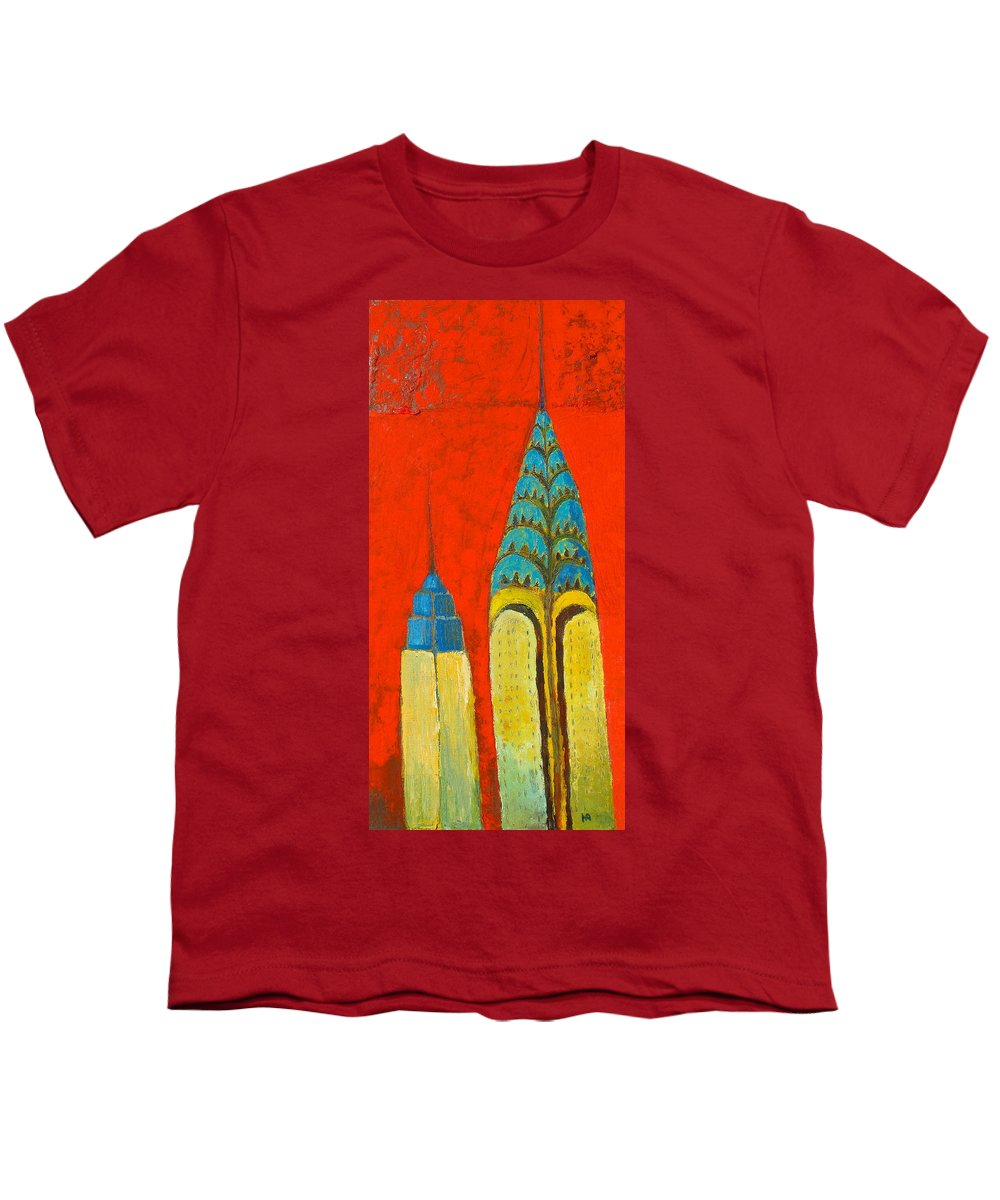 Youth T-Shirt featuring the painting The Chrysler And The Empire State by Habib Ayat