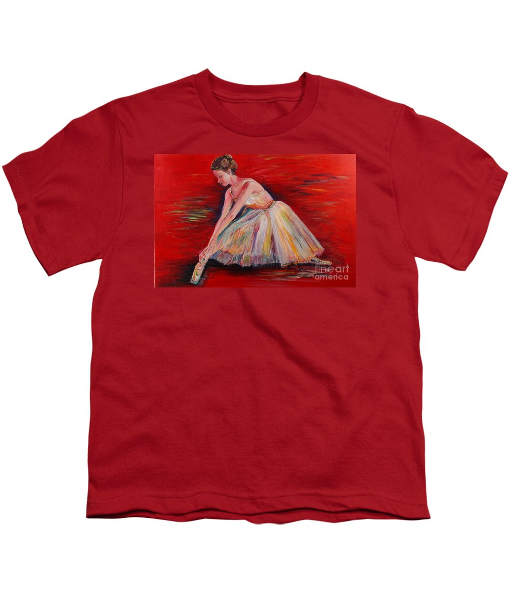 Dancer Youth T-Shirt featuring the painting The Dancer by Nadine Rippelmeyer
