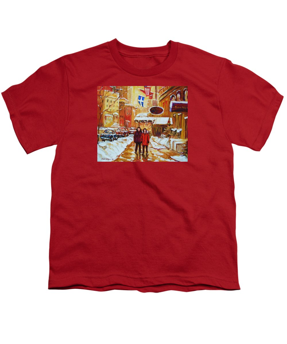 Streetscene Youth T-Shirt featuring the painting The Ritz Carlton by Carole Spandau