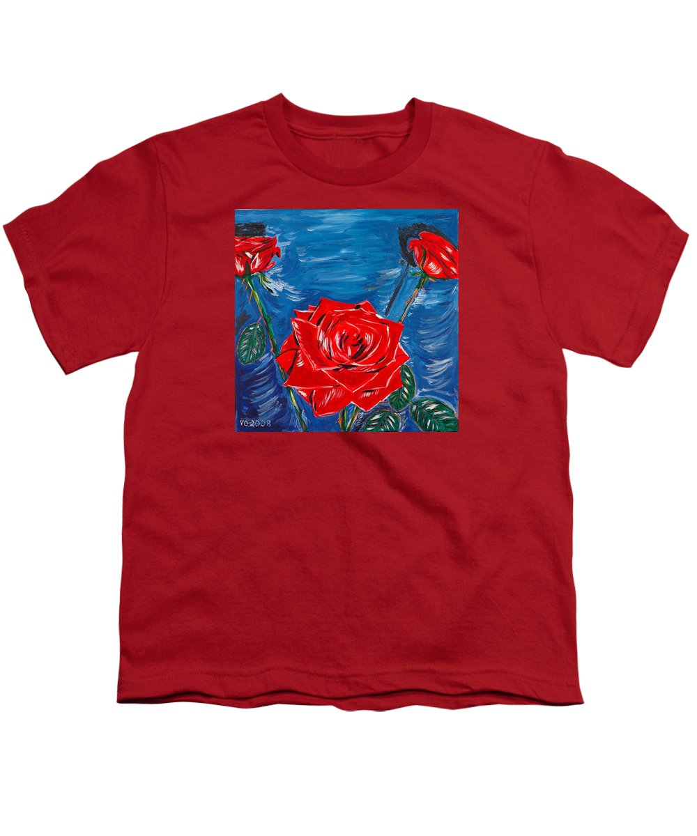 Rose Youth T-Shirt featuring the painting Three Red Roses Four Leaves by Valerie Ornstein