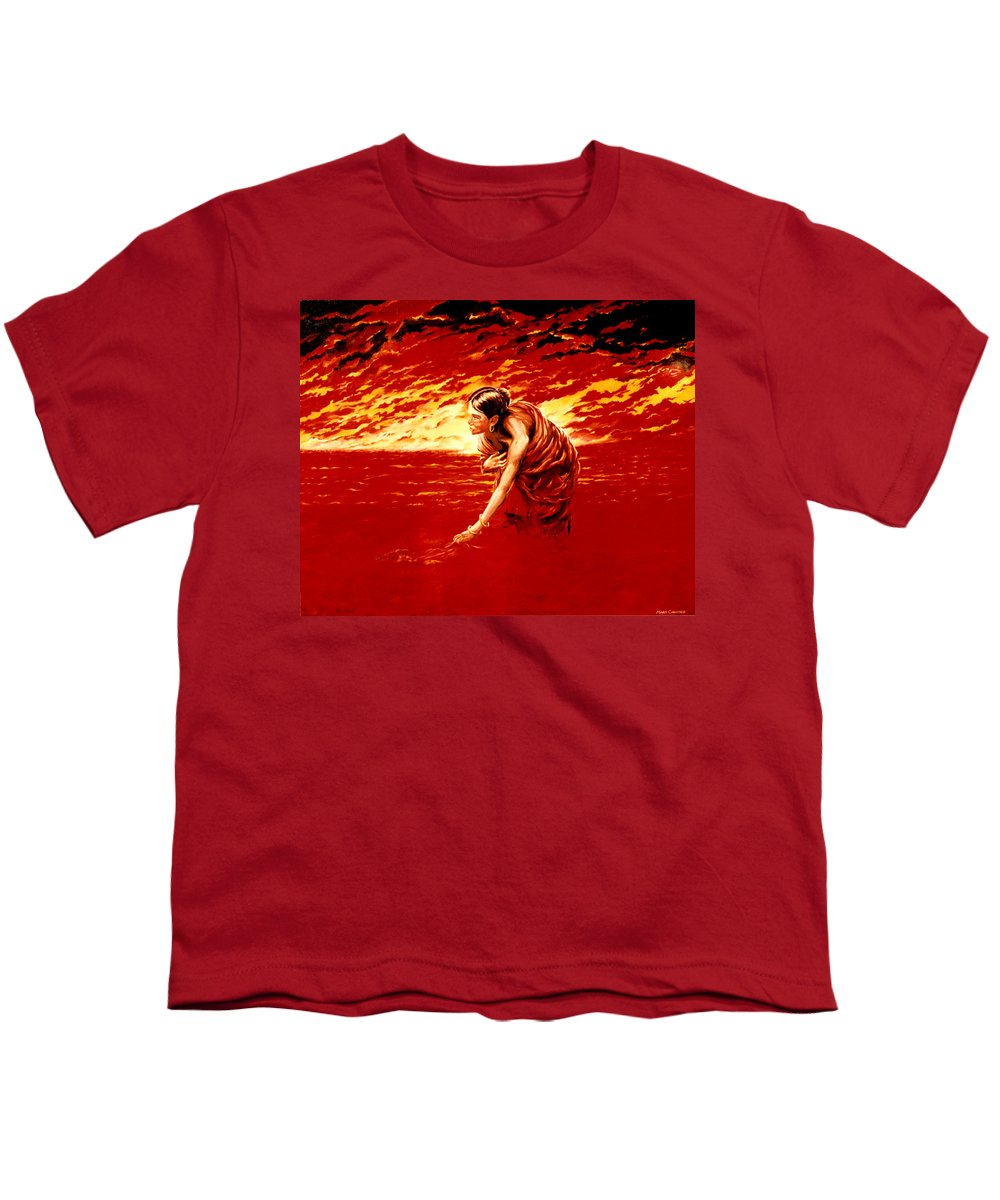 Seascape Youth T-Shirt featuring the painting Tsunami by Mark Cawood