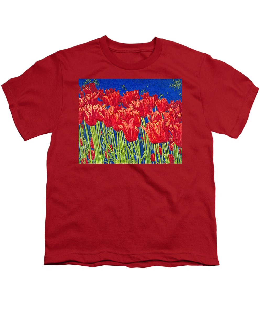 Tulips Youth T-Shirt featuring the drawing Tulips Tulip Flowers Fine Art Print Giclee High Quality Exceptional Color Garden Nature Botanical by Baslee Troutman