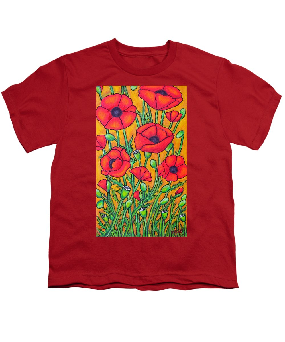 Poppies Youth T-Shirt featuring the painting Tuscan Poppies - Crop 2 by Lisa Lorenz