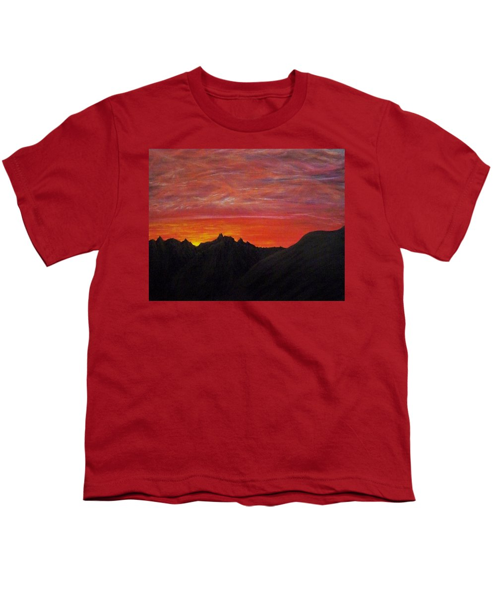 Sunset Youth T-Shirt featuring the painting Utah Sunset by Michael Cuozzo
