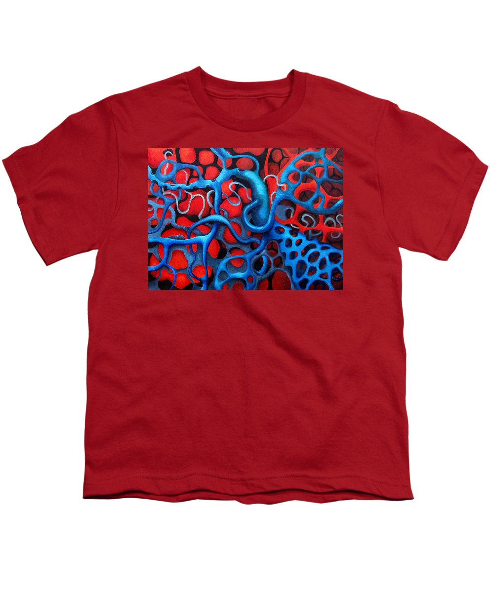 Abstract Youth T-Shirt featuring the painting Vital Network 2 by Nancy Mueller