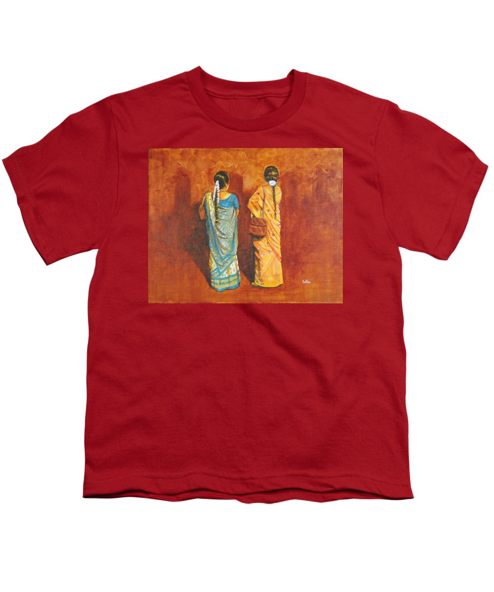 Women Youth T-Shirt featuring the painting Women In Sarees by Usha Shantharam