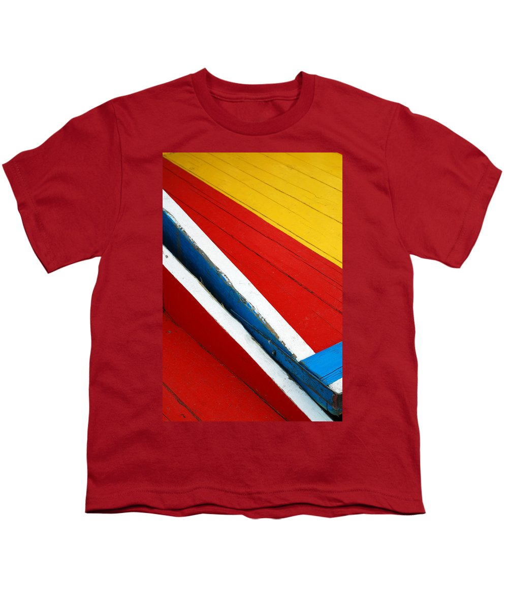 Red Youth T-Shirt featuring the photograph Xochimilco Boat Abstract 1 by Skip Hunt