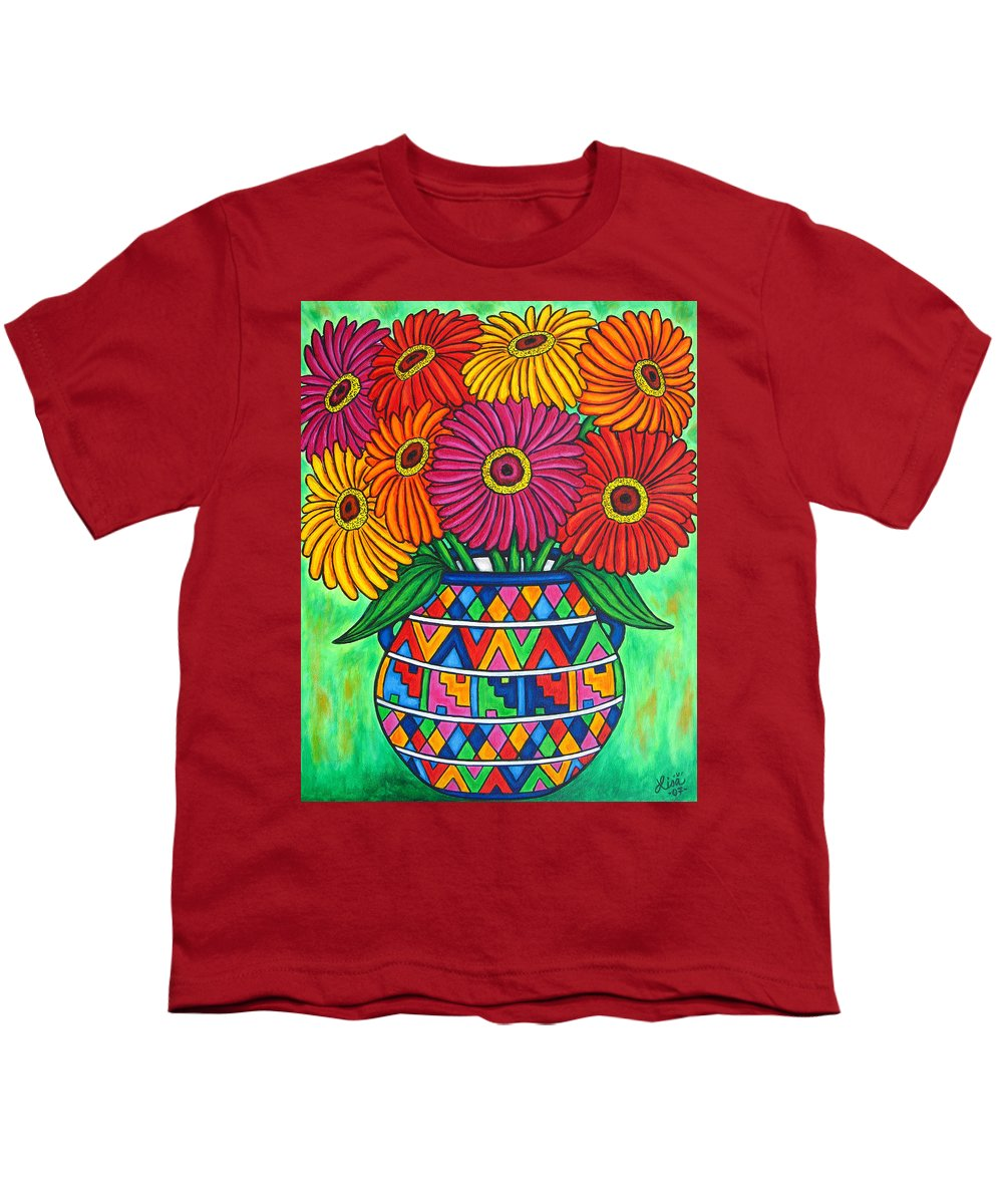 Zinnia Youth T-Shirt featuring the painting Zinnia Fiesta by Lisa Lorenz