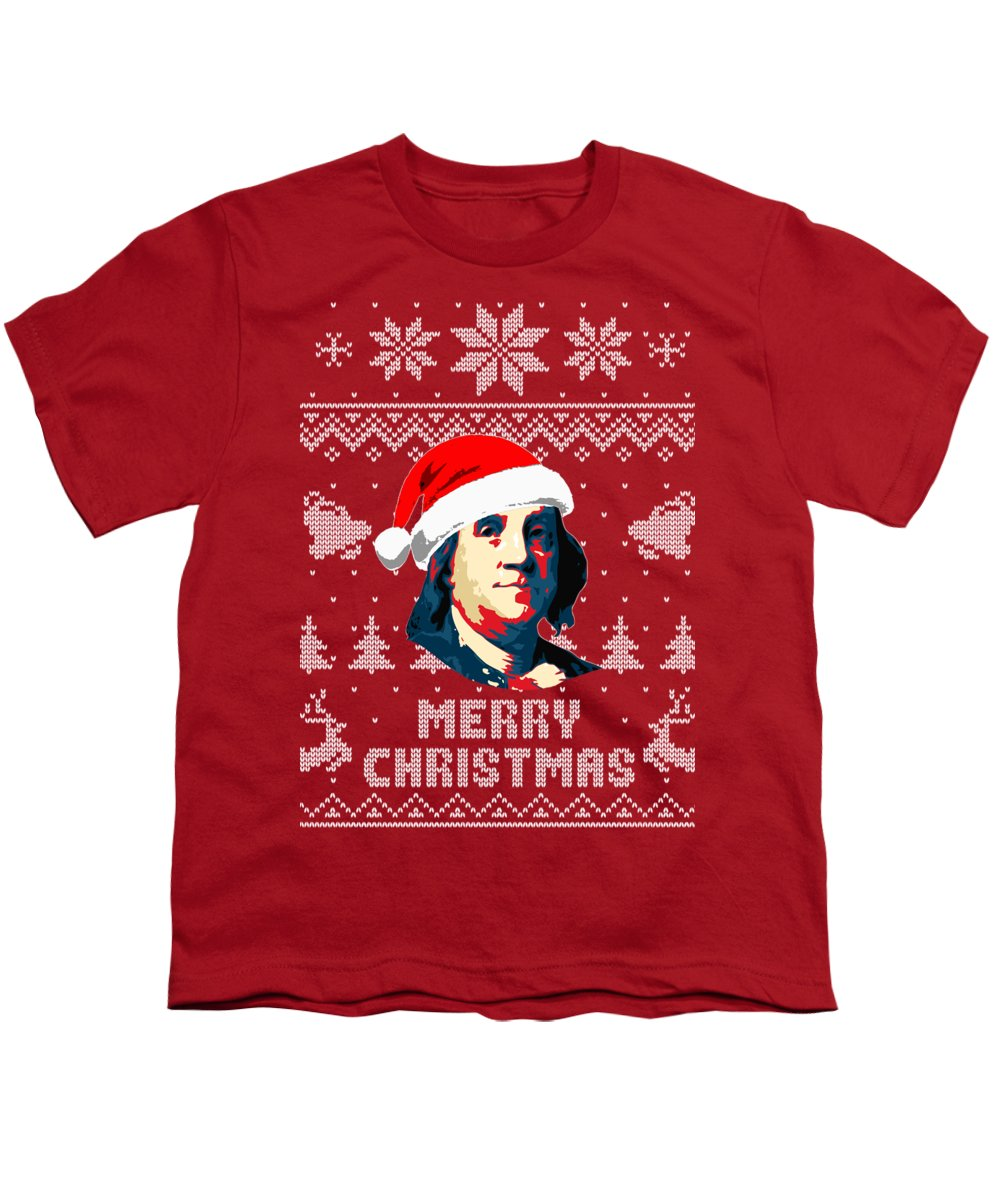 North America Youth T-Shirt featuring the digital art Benjamin Franklin Merry Christmas by Filip Hellman