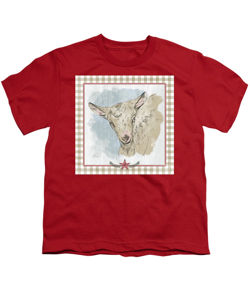 Goat Youth T-Shirt featuring the mixed media Goat Portrait-farm Animals by Shari Warren