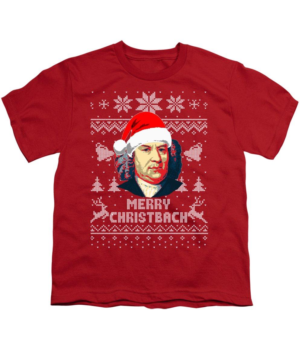 Santa Youth T-Shirt featuring the digital art Johann Sebastian Bach Merry Christbach by Filip Hellman