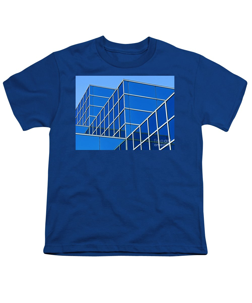 Building Youth T-Shirt featuring the photograph Boldly Blue by Ann Horn
