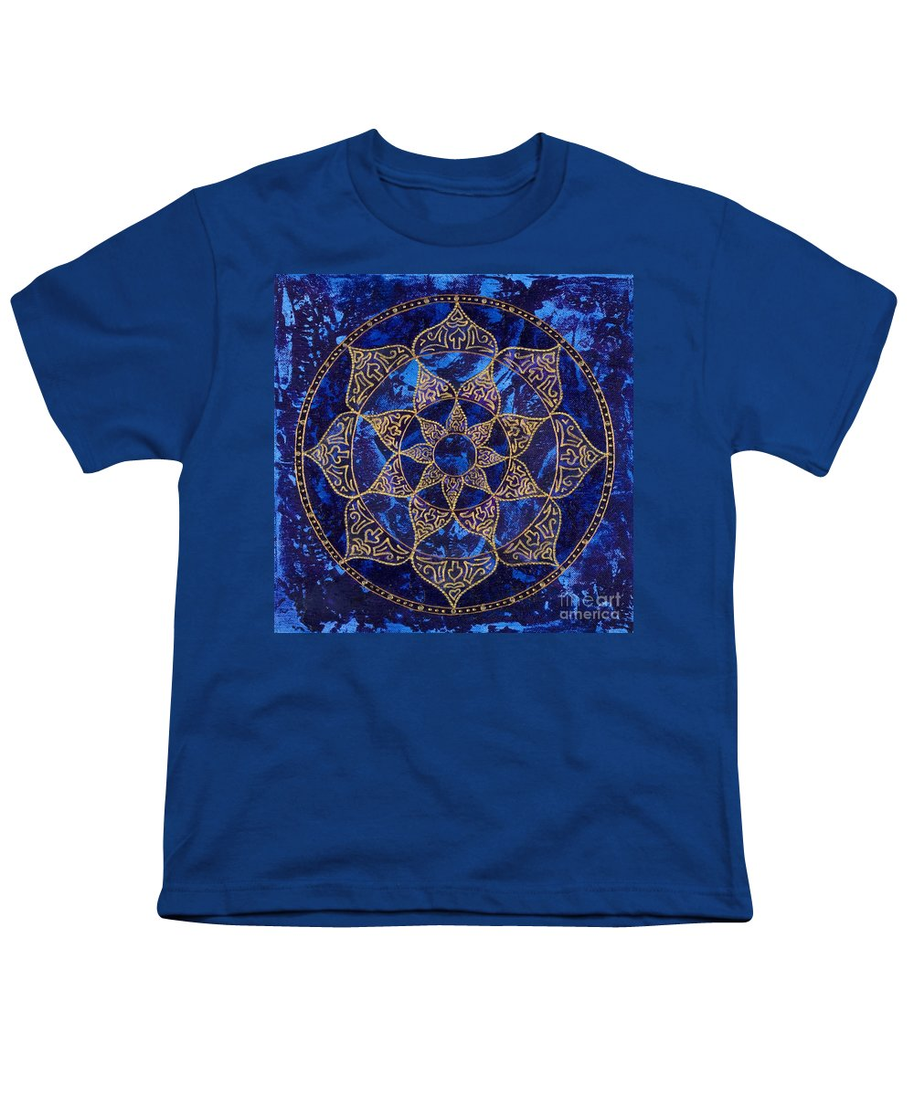 Mandala Youth T-Shirt featuring the painting Cosmic Blue Lotus by Charlotte Backman