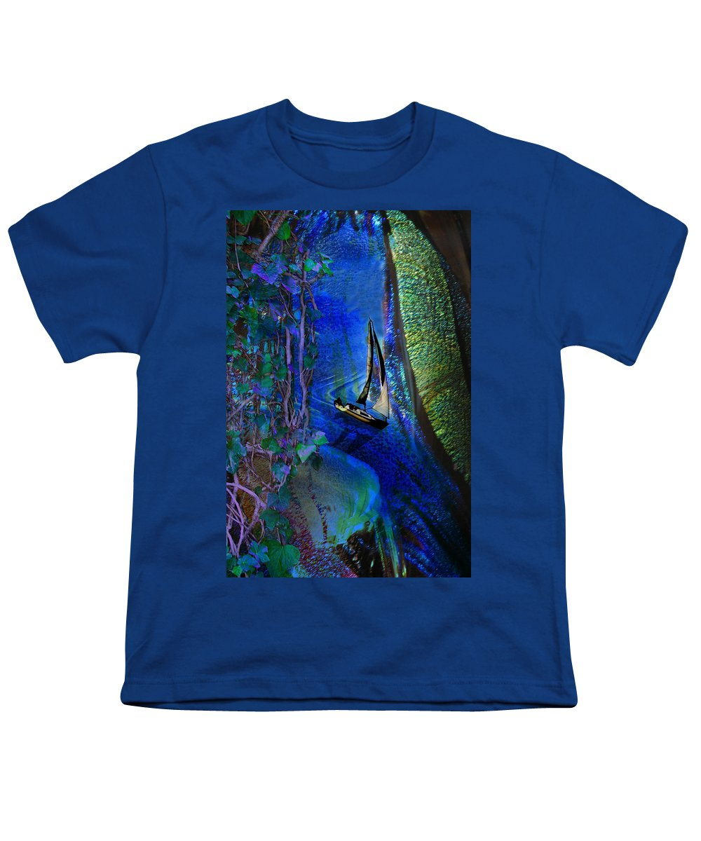 Dark River Youth T-Shirt featuring the digital art Dark River by Lisa Yount