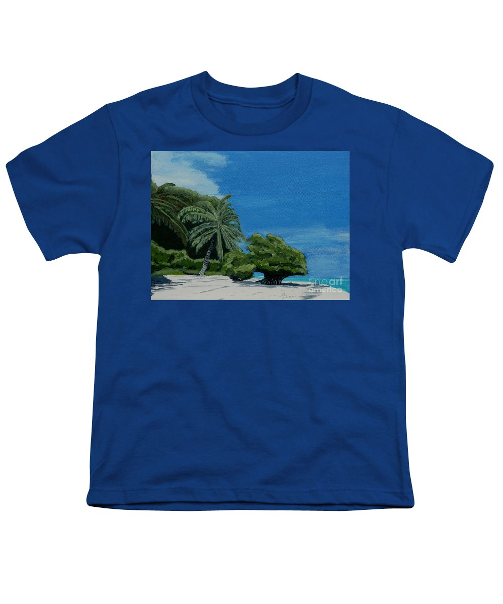 Beach Youth T-Shirt featuring the painting Tropical Beach by Anthony Dunphy