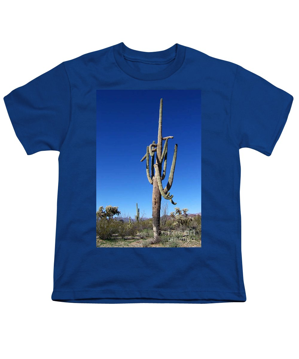 Sahuaro Youth T-Shirt featuring the photograph Twisted Sentinal by Kathy McClure