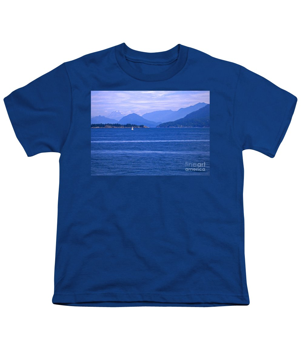 Sailboat Youth T-Shirt featuring the photograph Solitary Sailing by Ann Horn