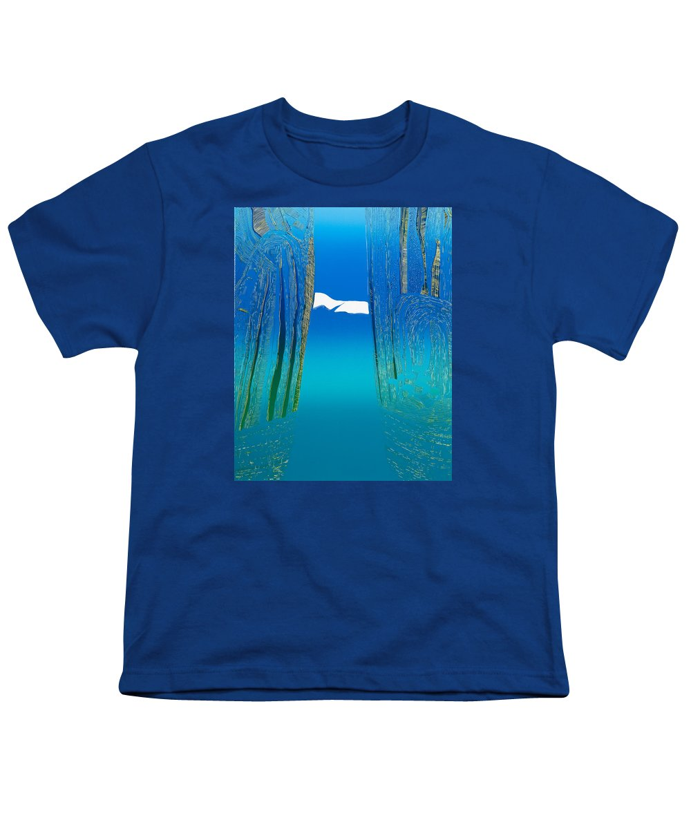 Landscape Youth T-Shirt featuring the mixed media Between Two Mountains. by Jarle Rosseland