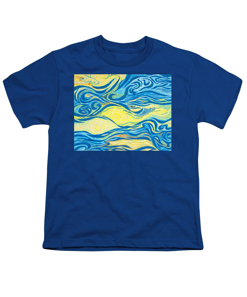 Art Youth T-Shirt featuring the drawing Abstract Art Good Morning Contemporary Modern Artwork Giclee Fine Art Prints Life Cycle Swirls Water by Baslee Troutman
