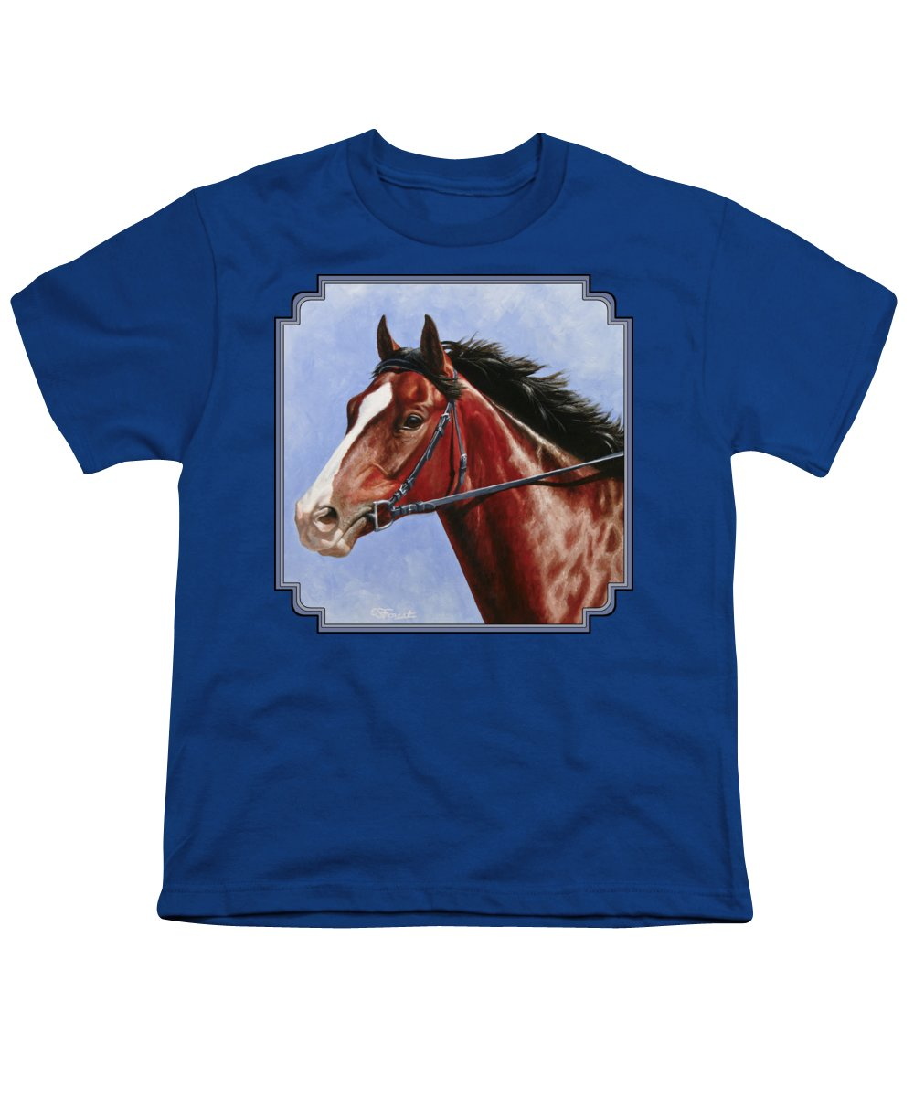 Horse Youth T-Shirt featuring the painting Horse Painting - Determination by Crista Forest