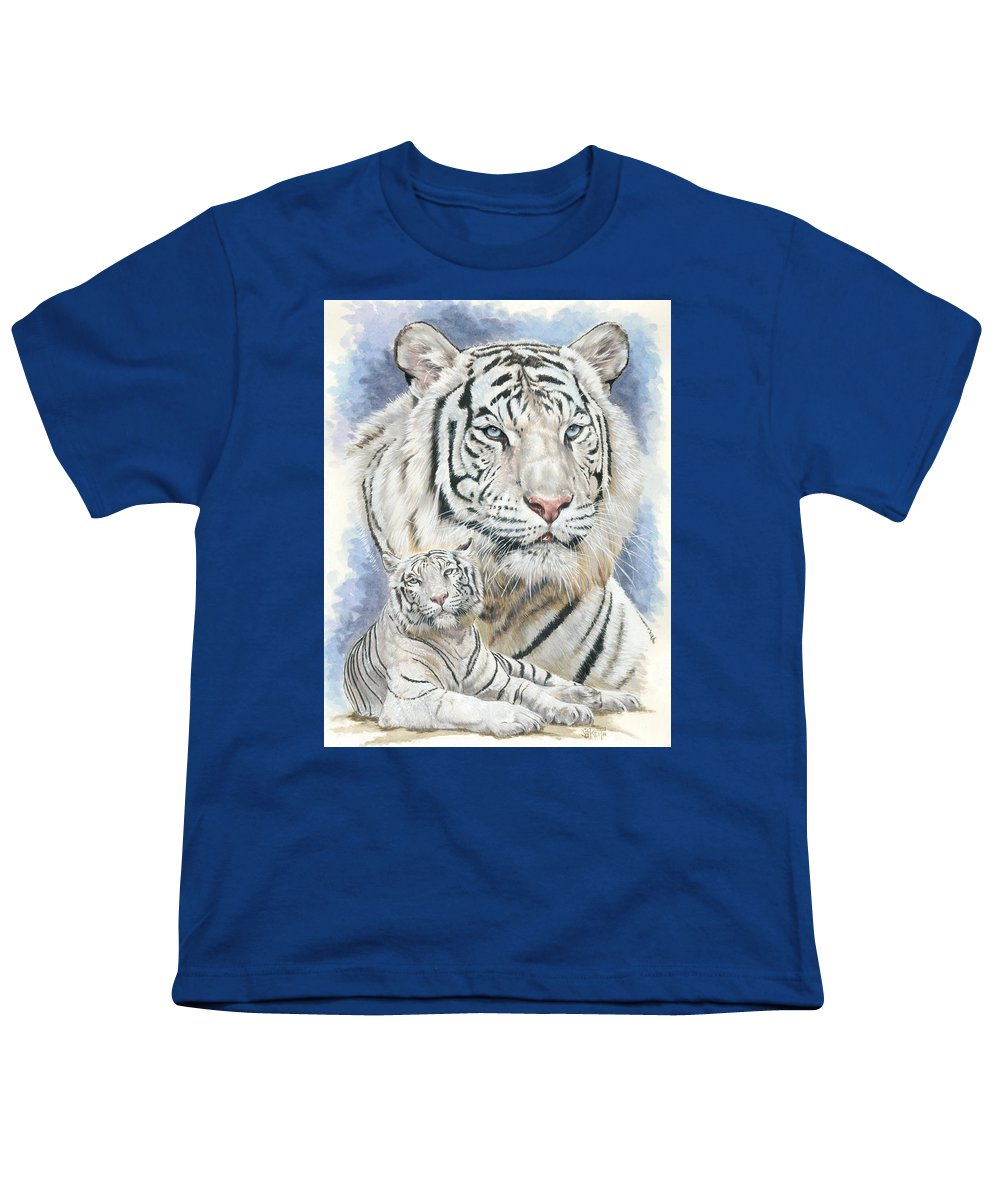 Big Cat Youth T-Shirt featuring the mixed media Dignity by Barbara Keith