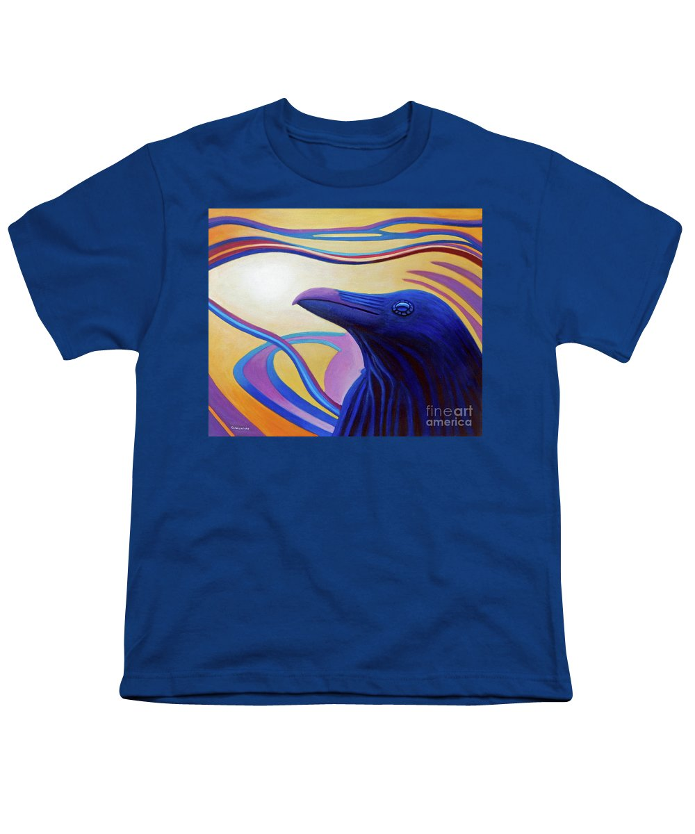 Raven Youth T-Shirt featuring the painting Astral Raven by Brian Commerford
