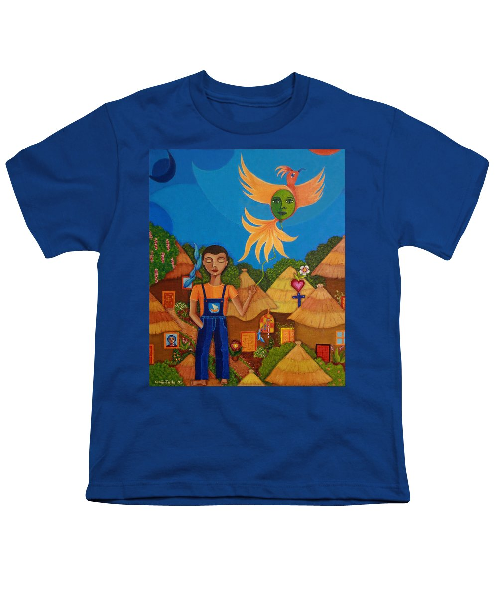 Autism Youth T-Shirt featuring the painting Autism - A Flight To... by Madalena Lobao-Tello