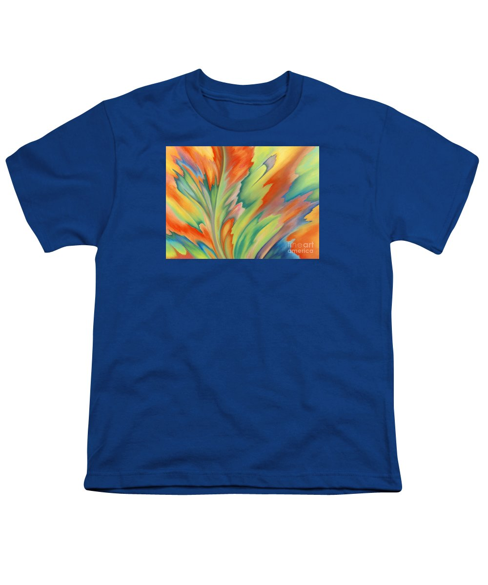 Abstract Youth T-Shirt featuring the painting Autumn Flame by Lucy Arnold
