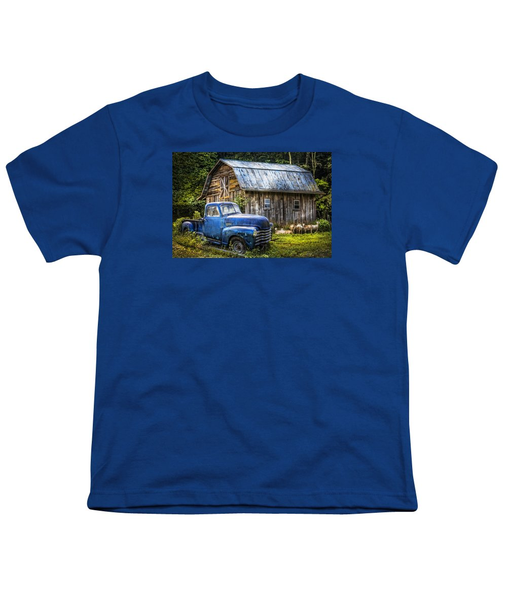 Big blue at the farm youth t shirt for sale by debra and for Big blue t shirts