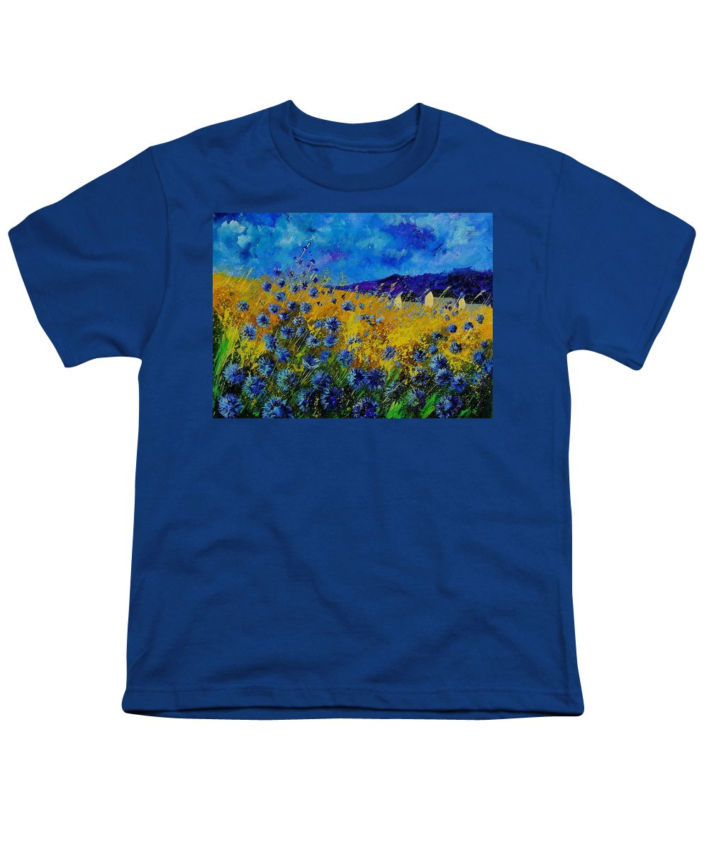 Poppies Youth T-Shirt featuring the painting Blue Cornflowers by Pol Ledent