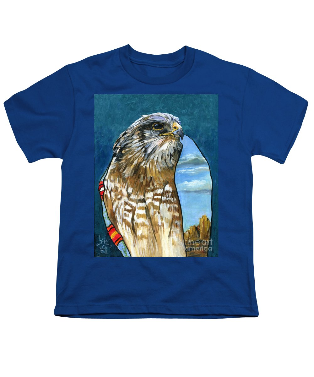 Hawk Youth T-Shirt featuring the painting Brother Hawk by J W Baker
