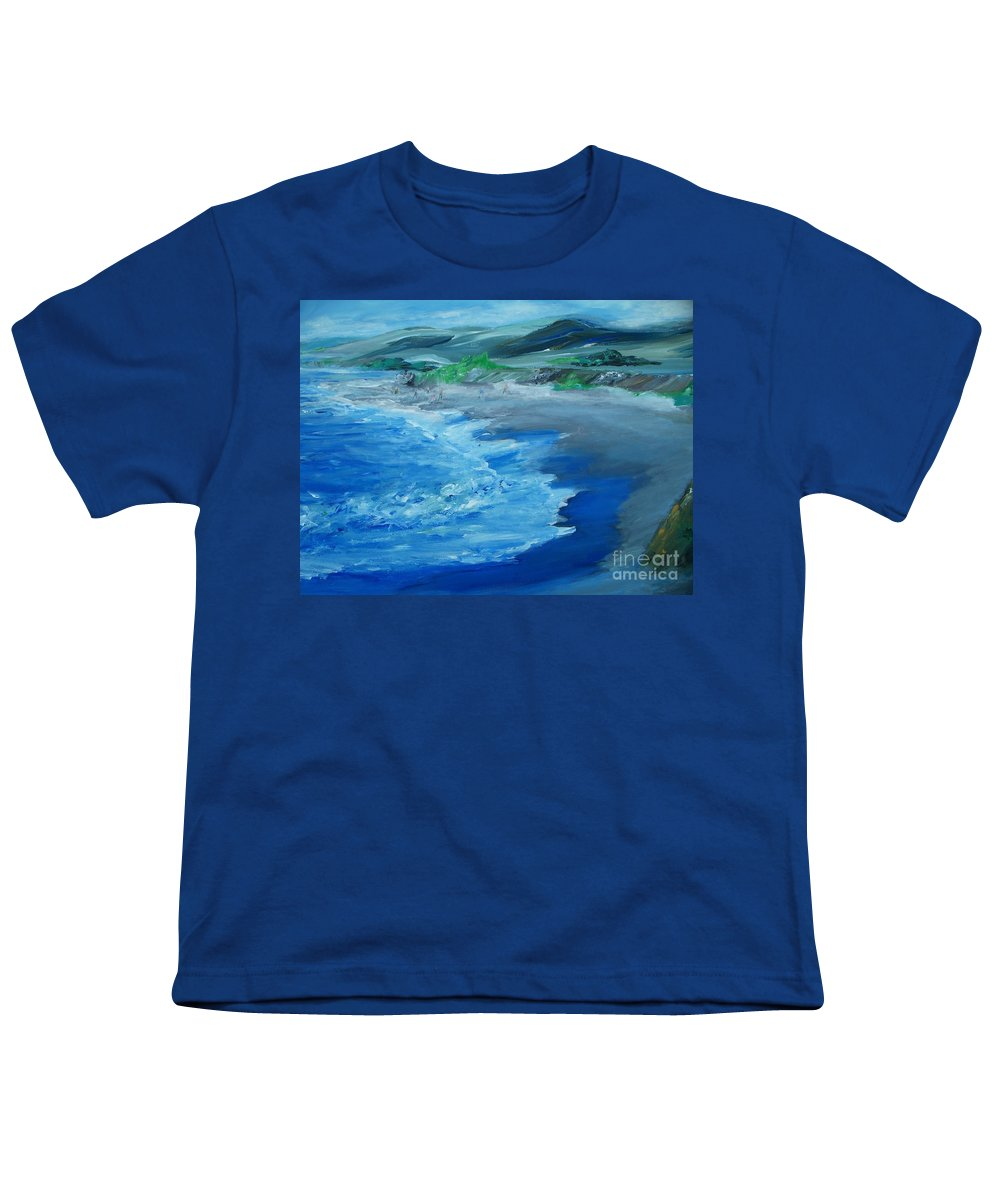 California Coast Youth T-Shirt featuring the painting California Coastline Impressionism by Eric Schiabor
