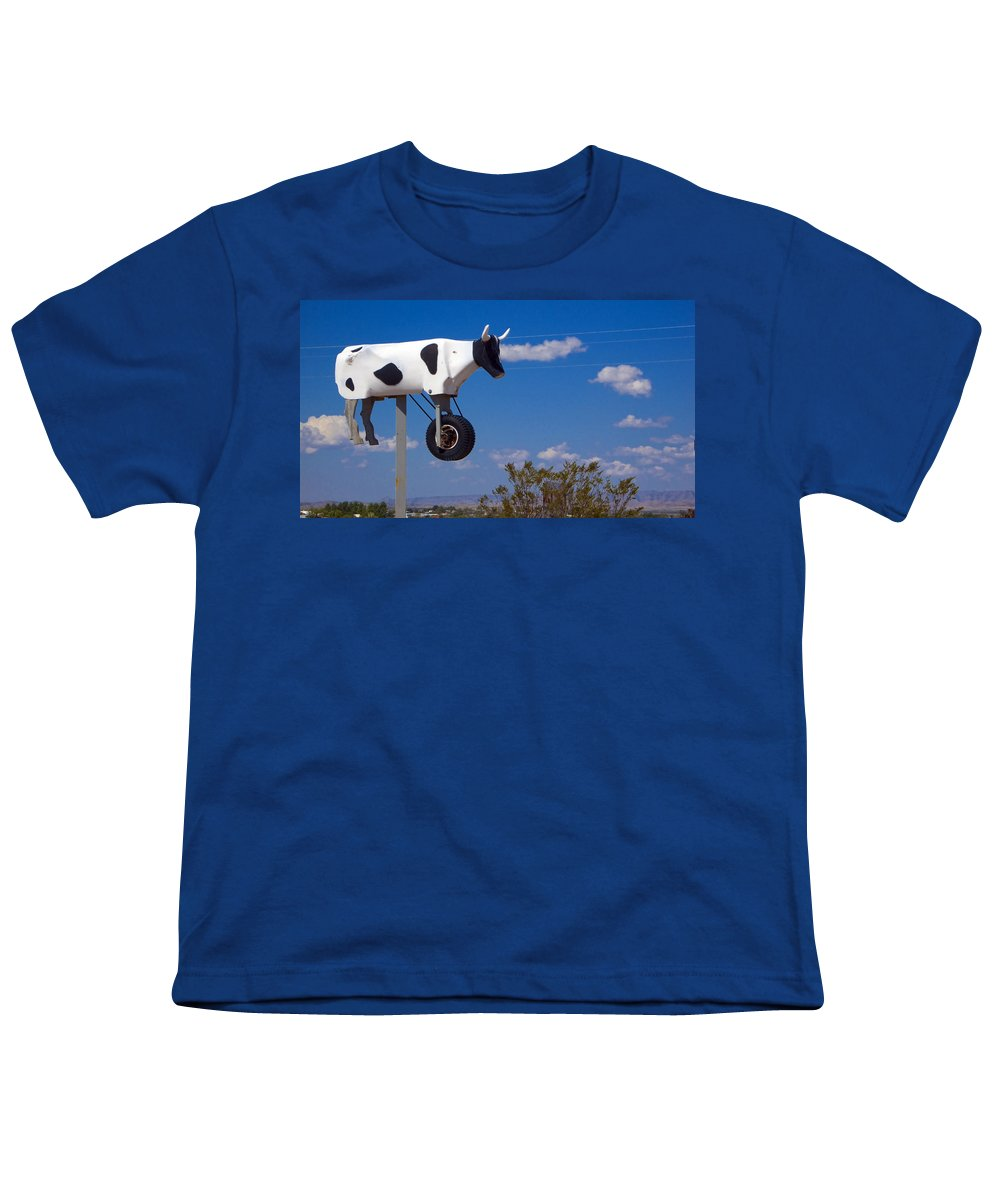 Cow Youth T-Shirt featuring the photograph Cow Power by Skip Hunt
