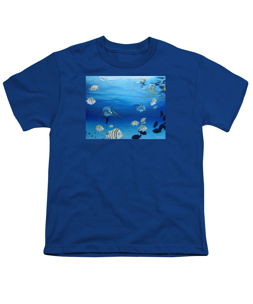 Seascape Youth T-Shirt featuring the painting Delphinus by Angel Ortiz