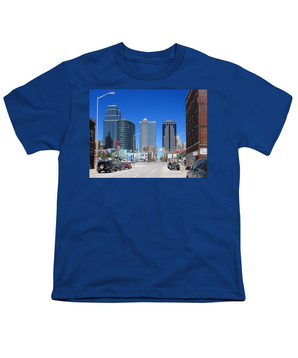 City Youth T-Shirt featuring the photograph Downtown Kansas City by Steve Karol