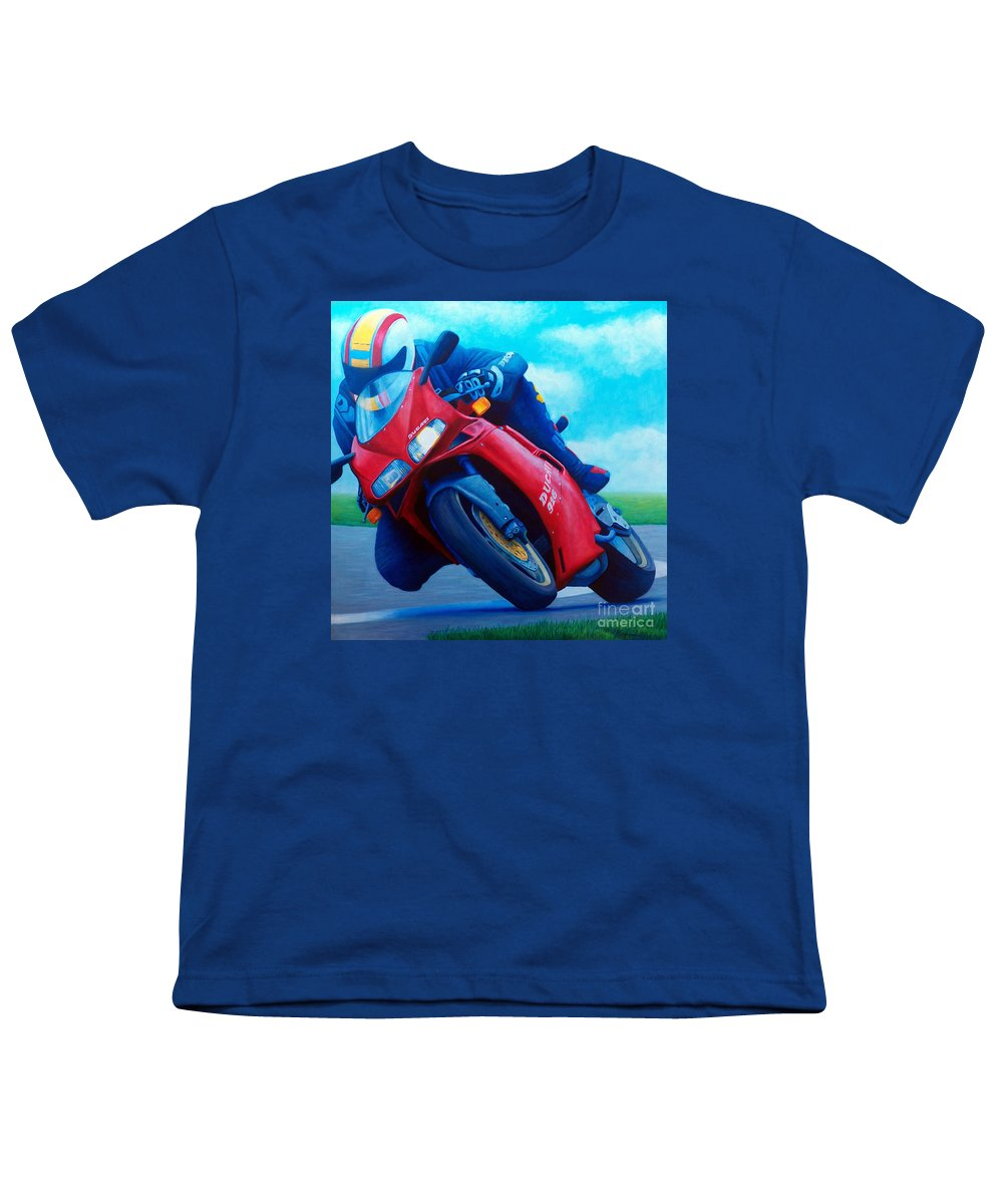 Motorcycle Youth T-Shirt featuring the painting Ducati 916 by Brian Commerford