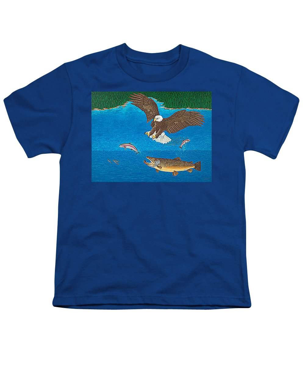 Art Print Prints Giclee Canvas Framed Brown Trout Eagle Lake Mountain Forest Nature Wildlife Wall Youth T-Shirt featuring the painting Eagle Trophy Brown Trout Rainbow Trout Art Print Blue Mountain Lake Artwork Giclee Birds Wildlife by Baslee Troutman