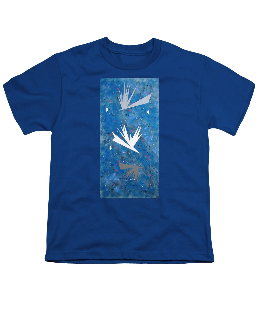 Birds And Diamond Stars Youth T-Shirt featuring the painting Feeding Frenzy by J R Seymour